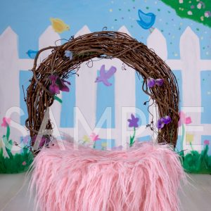 spring pink newborn wreath cradle digital backdrop