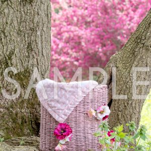 spring cherry blossom tree basket