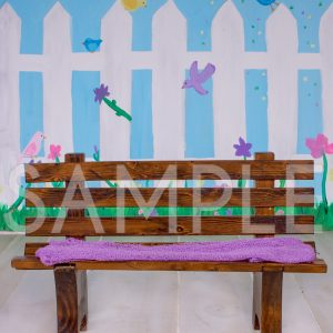 spring bench white picket fence birds garden digital backdrop